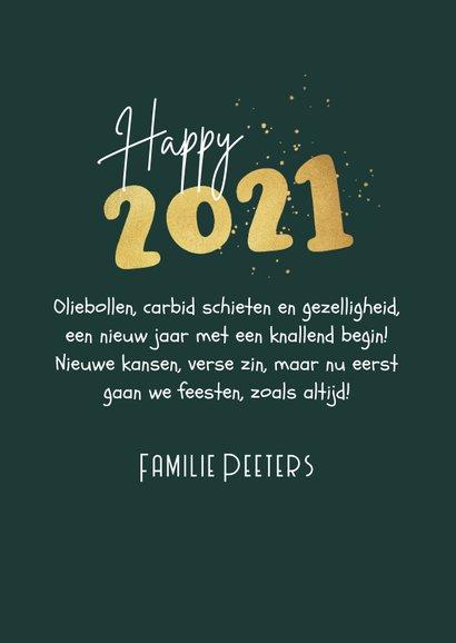 Nieuwjaarskaart 2021 carbid schieten vuurwerk sterren goud 3