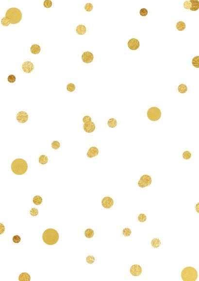 Nieuwjaarskaart 2021 confetti goud Achterkant