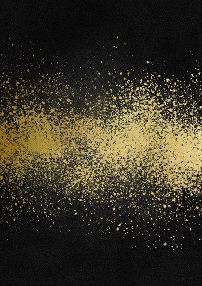 Nieuwjaarskaart 2021 goudlook met spetters Achterkant