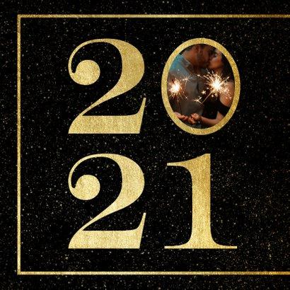 Nieuwjaarskaart 2021 met foto en gouden kader 2