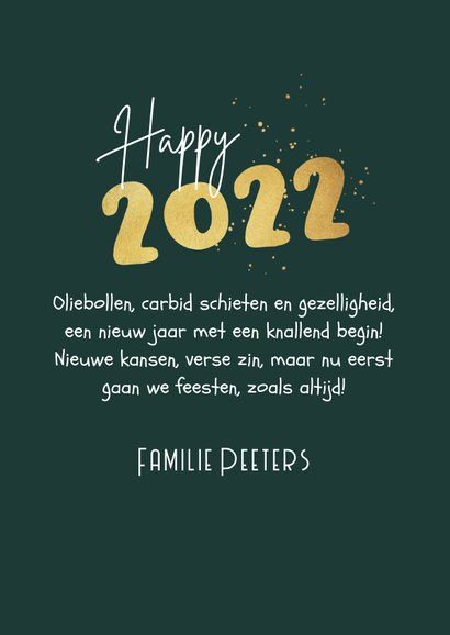 Nieuwjaarskaart 2022 carbid schieten vuurwerk sterren goud 3