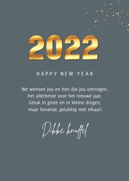 Nieuwjaarskaart 2022 goud cijfers spetters fotocollage 3