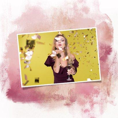 Nieuwjaarskaart ballon 2019 goud watercolours paars 2