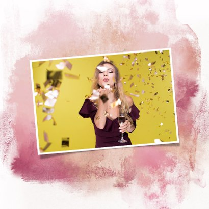 Nieuwjaarskaart ballon 2020 goud watercolours paars 2