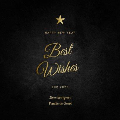 Nieuwjaarskaart Best Wishes klassiek met sterren 3
