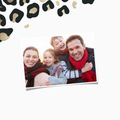 Nieuwjaarskaart Best wishes met foto goudlook panterprint 2