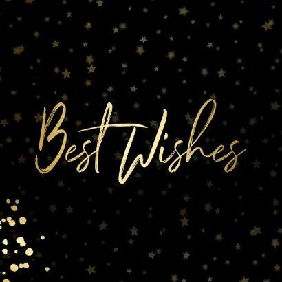 Nieuwjaarskaart Best Wishes sterren goud met confetti 2