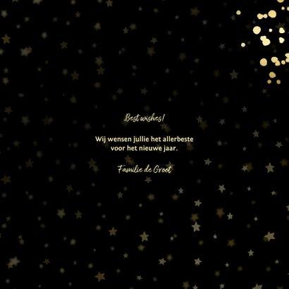 Nieuwjaarskaart Best Wishes sterren goud met confetti 3
