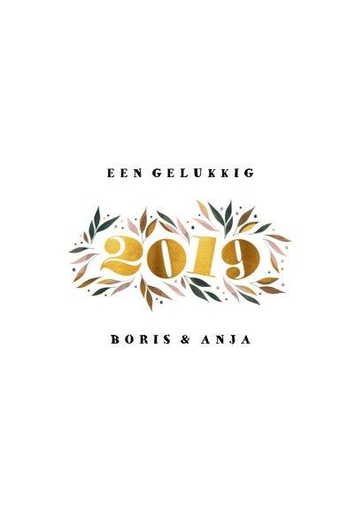 Nieuwjaarskaart botanisch '2019' goud met foto 3