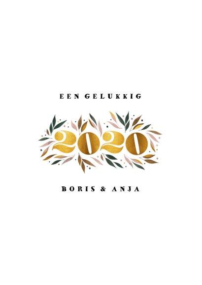 Nieuwjaarskaart botanisch '2020' goud met foto 3