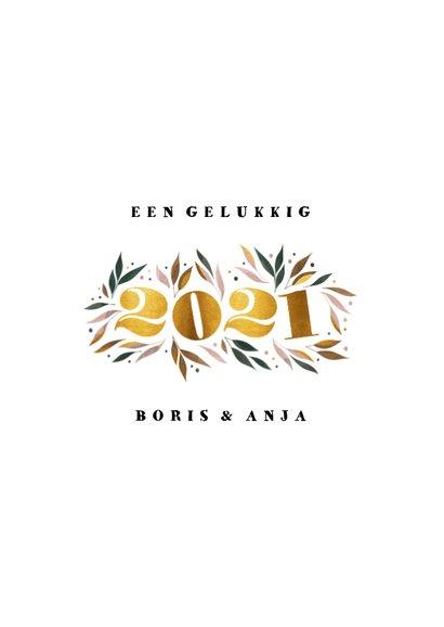 Nieuwjaarskaart botanisch '2021' goud met foto 3