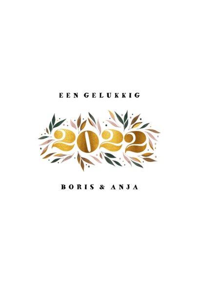 Nieuwjaarskaart botanisch '2022' goud met foto 3