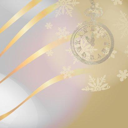 Nieuwjaarskaart bruin met klok op 5 voor 12 2