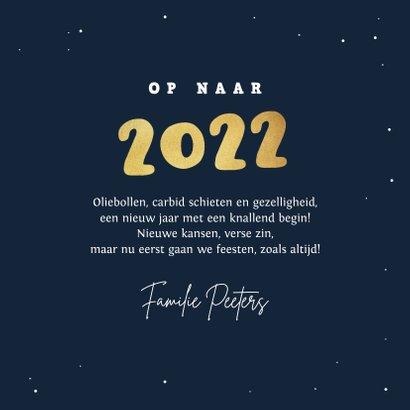 Nieuwjaarskaart carbid schieten vuurwerk sterren 2022 goud 3