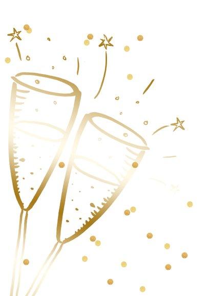 Nieuwjaarskaart champagne goudlook  confetti 2