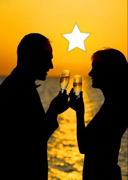 Nieuwjaarskaart champagne 'happy new year' 2