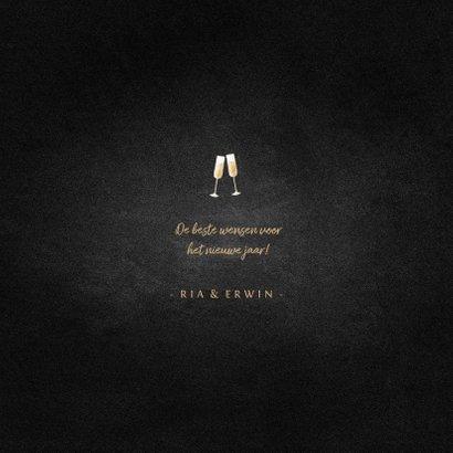 Nieuwjaarskaart champagne met foto en gouden linten 3