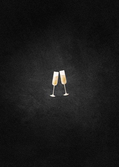 Nieuwjaarskaart champagne met gouden linten Achterkant