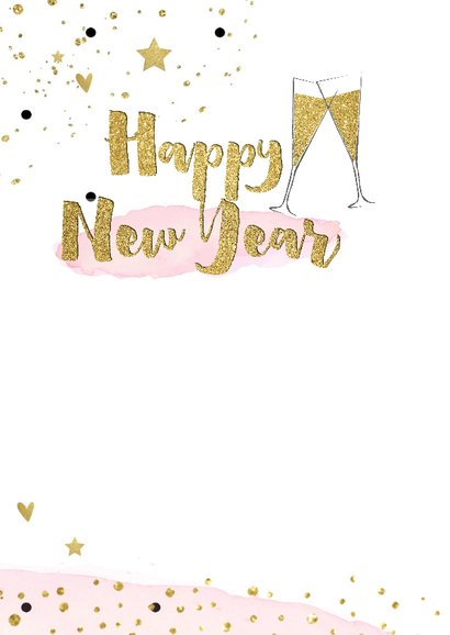 Nieuwjaarskaart  champagneglazen goud watercolor 2