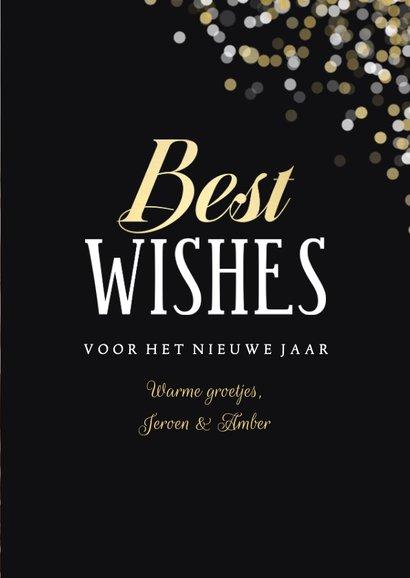 Nieuwjaarskaart confetti grote foto Best Wishes 3