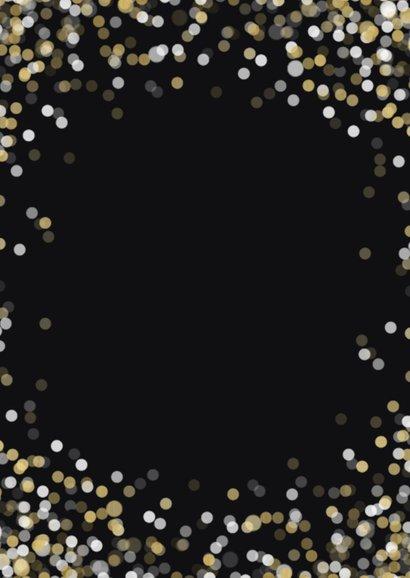 Nieuwjaarskaart confetti grote foto Best Wishes Achterkant
