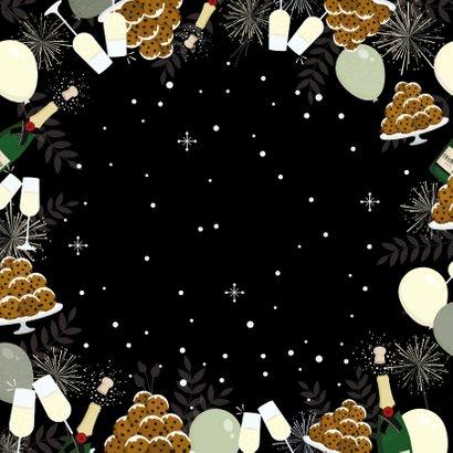 Nieuwjaarskaart Corona papieren kerstkus door de brievenbus  Achterkant