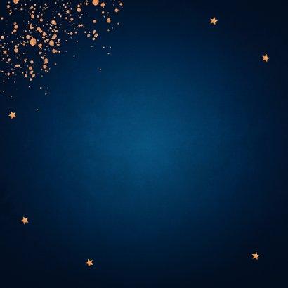 Nieuwjaarskaart donkerblauw koperlook confetti 2021 2