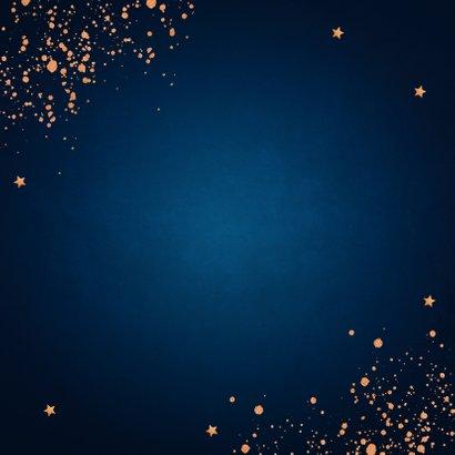 Nieuwjaarskaart donkerblauw koperlook confetti 2021 Achterkant