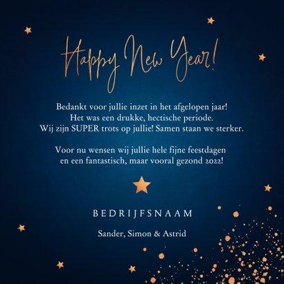 Nieuwjaarskaart donkerblauw koperlook confetti 2022 3