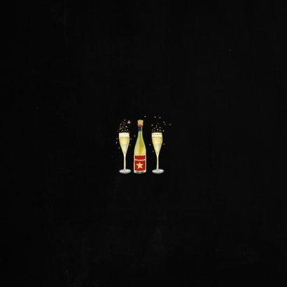 Nieuwjaarskaart fles champagne Achterkant