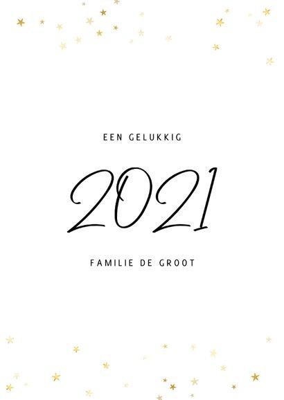 Nieuwjaarskaart fotocollage 2021 met gouden sterren 3