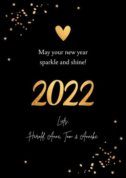 Nieuwjaarskaart fotocollage confetti goudlook hartje 3