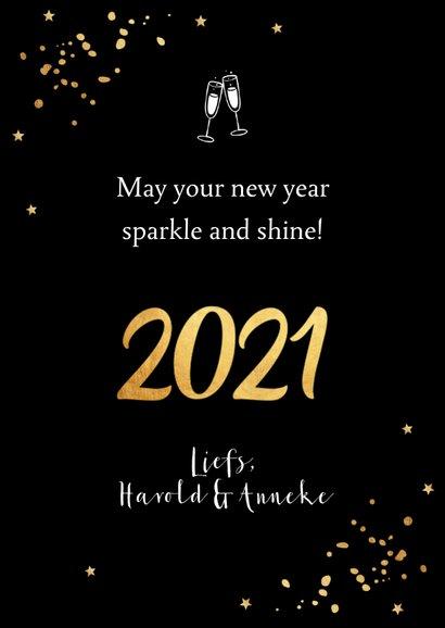 Nieuwjaarskaart fotocollage confetti goudlook 3