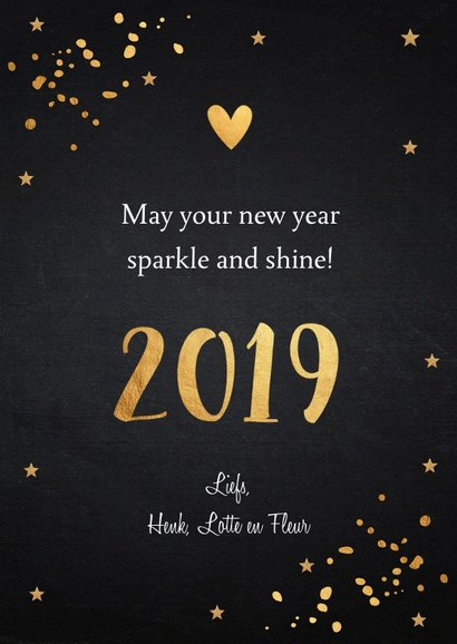 Nieuwjaarskaart fotocollage donker goud confetti 3