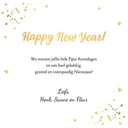 Nieuwjaarskaart fotocollage goudlook confetti 3
