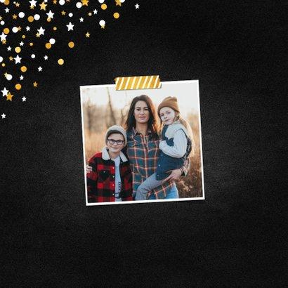 Nieuwjaarskaart fotocollage krijtbord met confetti 2