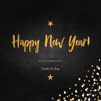 Nieuwjaarskaart fotocollage krijtbord met confetti 3