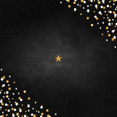 Nieuwjaarskaart fotocollage krijtbord met confetti Achterkant