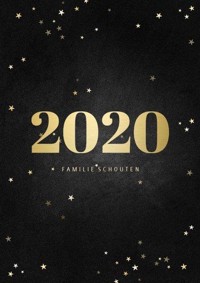 Nieuwjaarskaart fotocollage met gouden 2020 en sterren 3