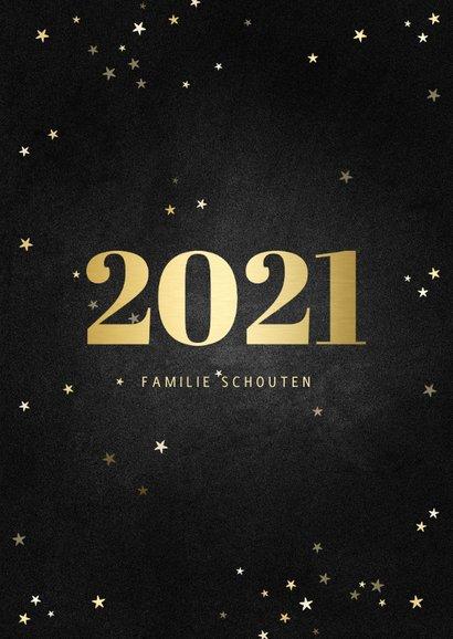 Nieuwjaarskaart fotocollage met gouden 2021 en sterren 3
