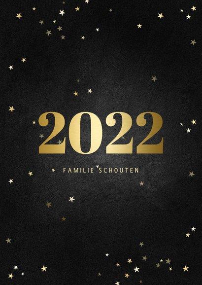 Nieuwjaarskaart fotocollage met gouden 2022 en sterren 3