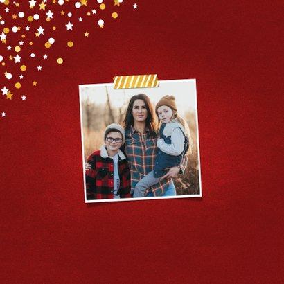 Nieuwjaarskaart fotocollage rood met confetti 2