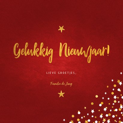 Nieuwjaarskaart fotocollage rood met confetti 3