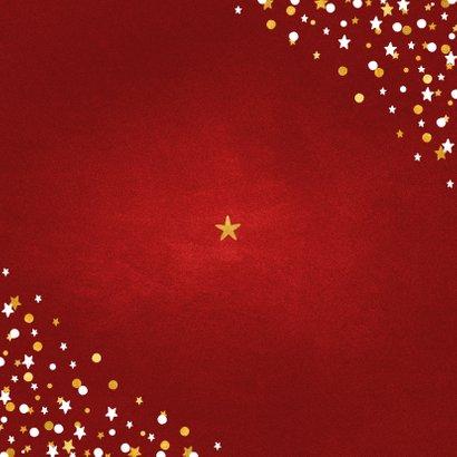 Nieuwjaarskaart fotocollage rood met confetti Achterkant