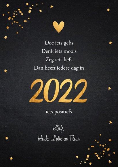 Nieuwjaarskaart fotocollage zwart confetti goudlook 3