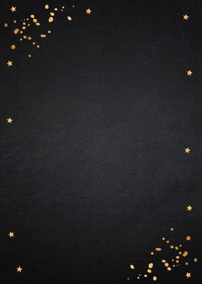 Nieuwjaarskaart fotocollage zwart confetti goudlook Achterkant