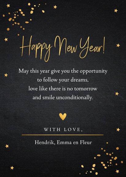 Nieuwjaarskaart fotocollage zwart goudlook 3