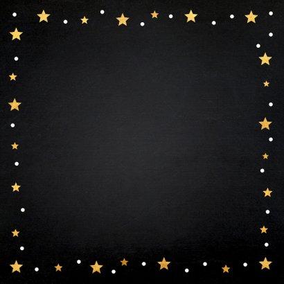 Nieuwjaarskaart fotocollage zwart sterren goudlook 2