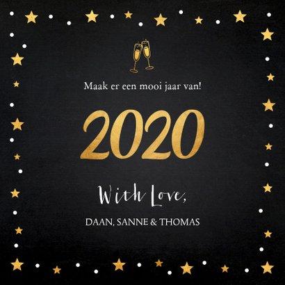 Nieuwjaarskaart fotocollage zwart sterren goudlook 3