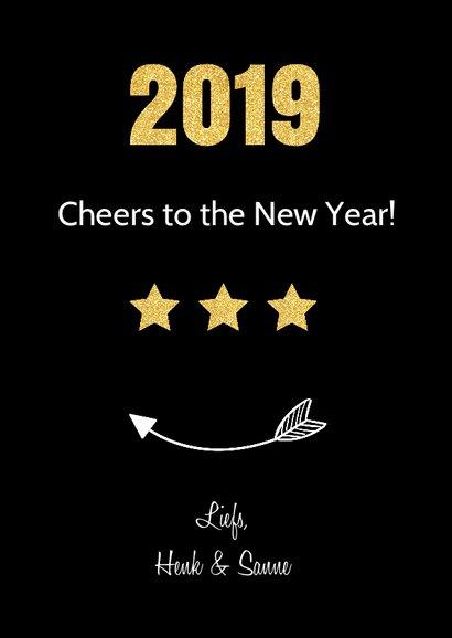 Nieuwjaarskaart fotocollage zwart  3